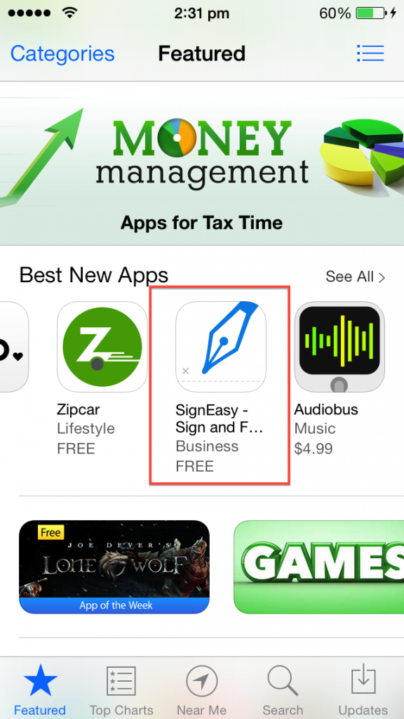 App Store SignEasy featured as best new app