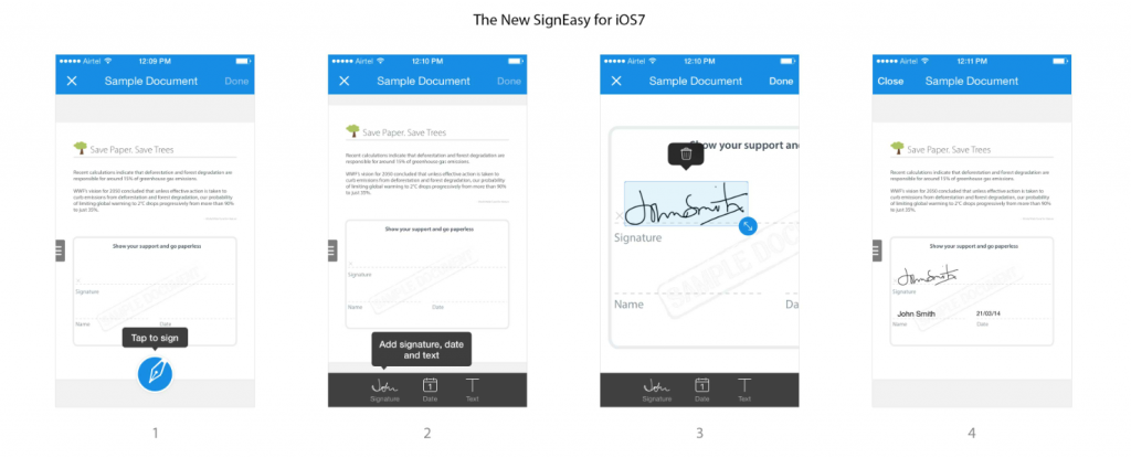 SignEasy iOS7 userflow