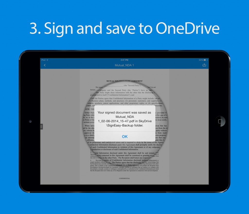 Sign and save to OneDrive