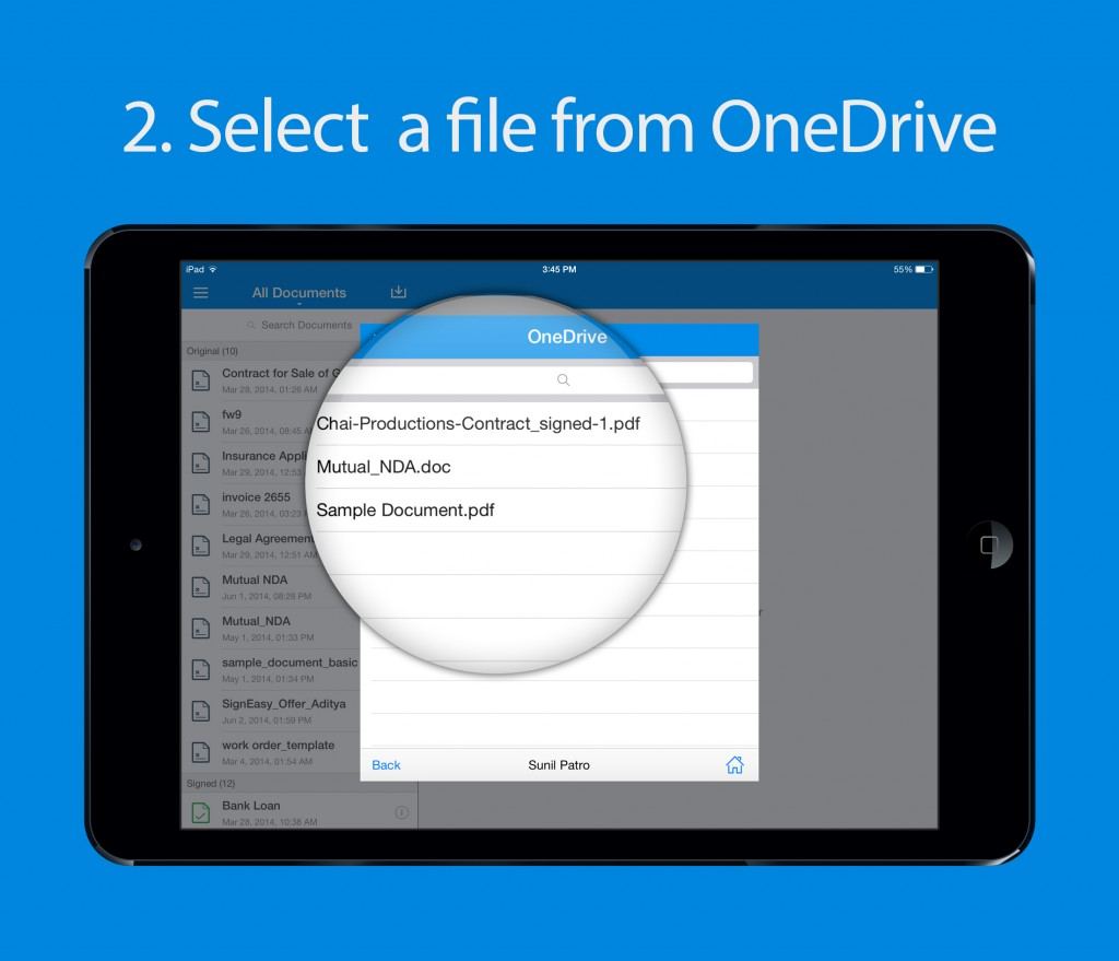 Selecting a file from OneDrive