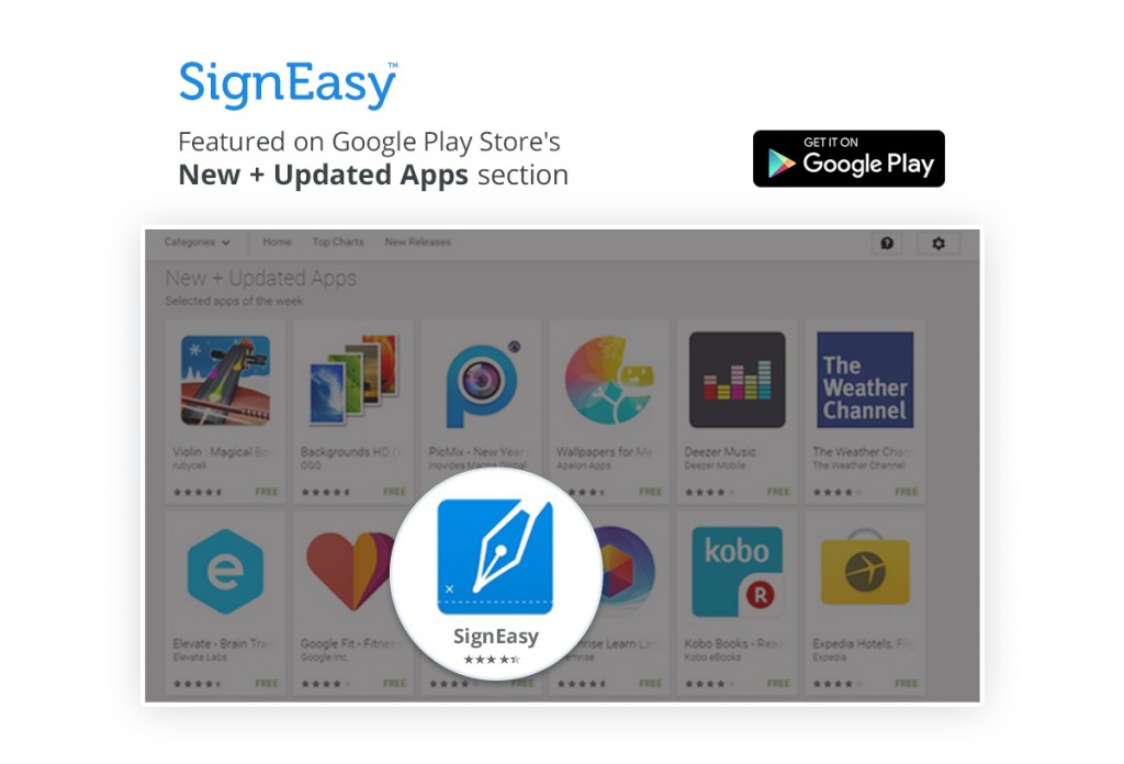 Google features SignEasy under its New and Updated Apps section on Play Store