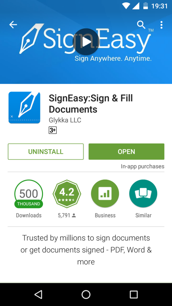 Screenshot of SignEasy app on Android with the 500K download badge