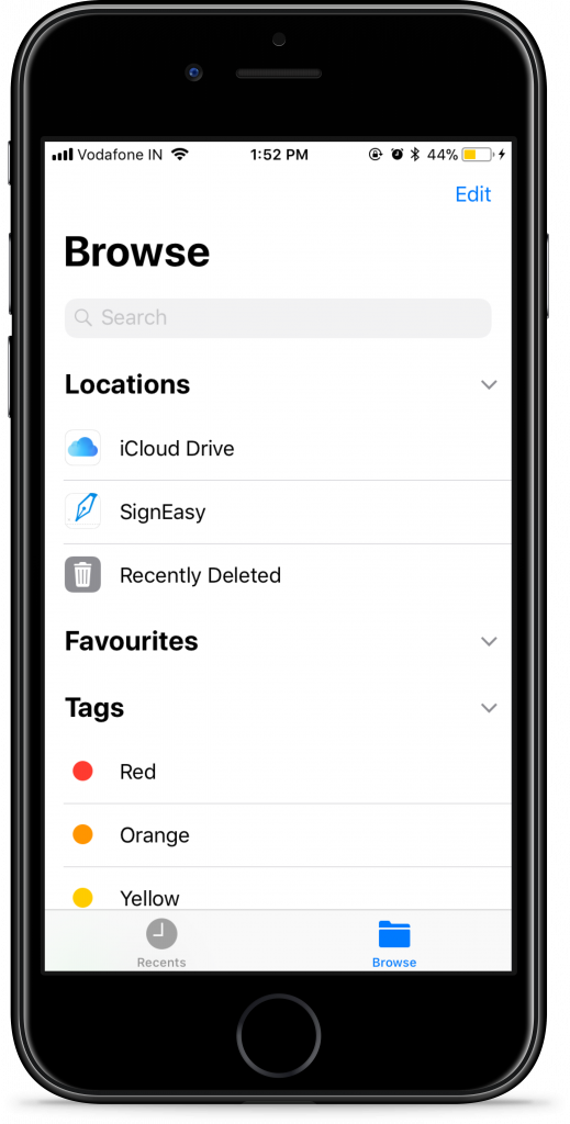 Access all your SignEasy files from the files app on iOS 11