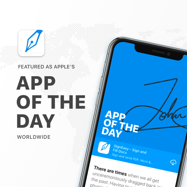 SignEasy Featured as App of the Day in over 100 Countries Worldwide